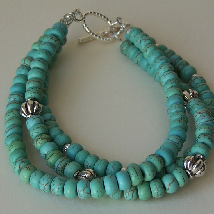 Turquoise Colored Maganesite and Silver Bead Triple Strand Bracelet Closed with a Toggle Clasp by ShelbyAnnDesigns on Etsy