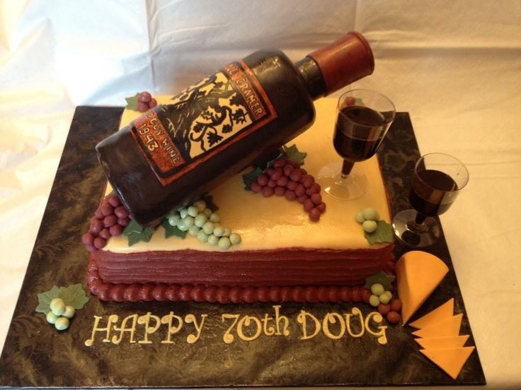 Wine Bottle Grapes And Cheese Birthday Cake My Cake