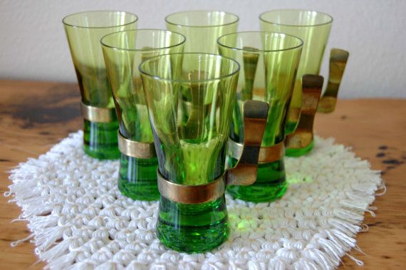 Vintage Green Liquor Glasses Vintage Green by TheEclecticInterior