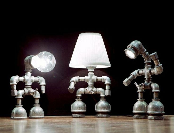 coole lampen aus wasserleitungen selber machen - Coole Nachttischlampen