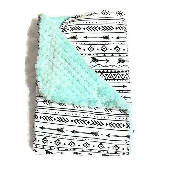 Gender Neutral Baby Blanket Security Blanket Carseat by BizyBelle