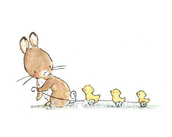 Children's Art Bunny And Ducklings Art Print por trafalgarssquare, $10.00