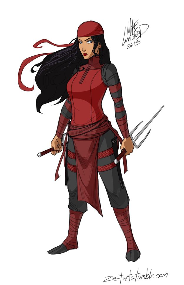 Fully clothed female superheroes! (Here: Elektra looking like an actual assassin.)