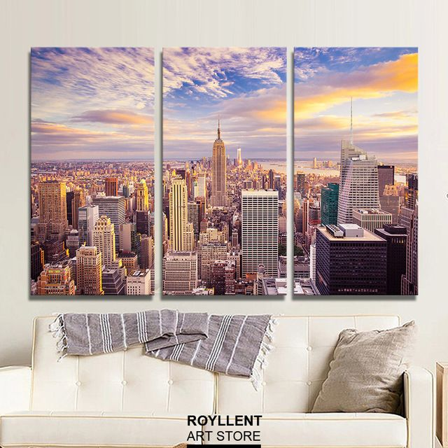 New york city 3 pieces canvas printed painting unframed
