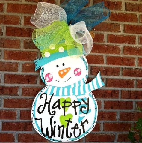 Door Hanger Winter Winter Snowman Door Hanger by LooLeighsCharm