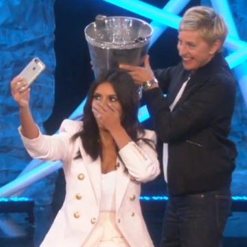 Ellen Degeneres challenges Kim Kardashian to take on the ALS Ice Bucket Challenge. Watch the full video here