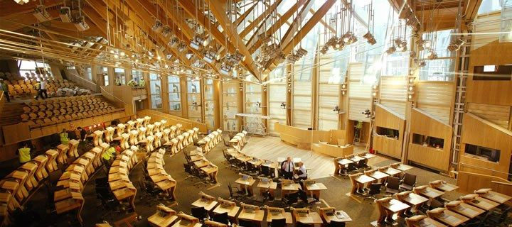 Macalloy Tie Rods Tension Glulam Roof of Scottish Parliament Building    Architect - Enric Miralles