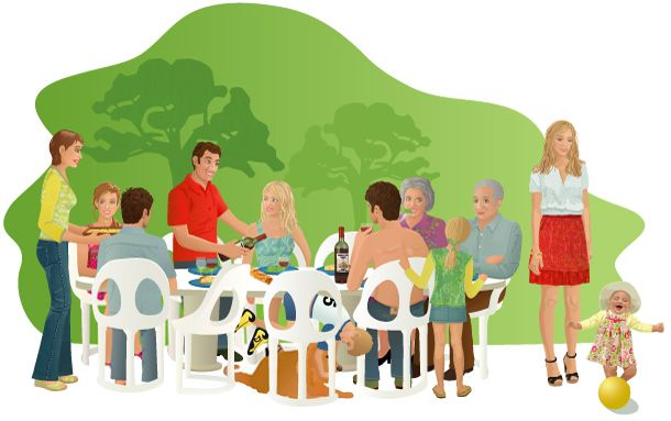 What do they eat repas de famille illustration repas for Plat a manger entre amis