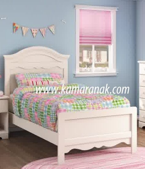 jual Tempat Tidur Anak Perempuan Cantik harga murah desain minimalis modern bahan kayu mahogany pada set kamar tidur anak cewek