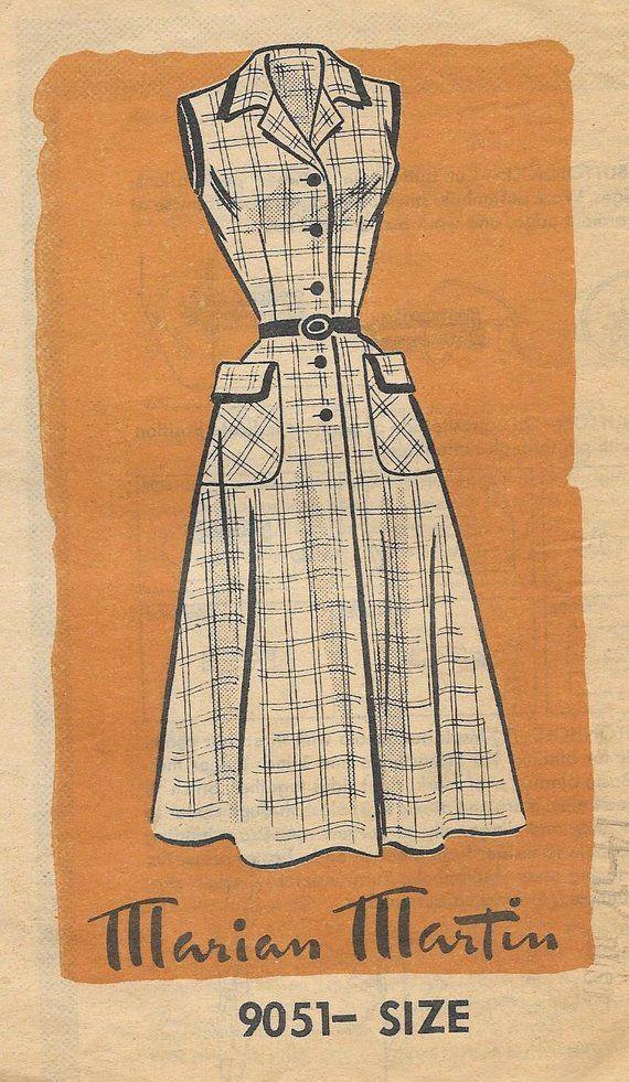 65f402cf602 Marian Martin 9051 1950s Sleeveless Shirtwaist House Dress Vintage Sewing  Pattern Size 14 Hip Pockets Rockabilly