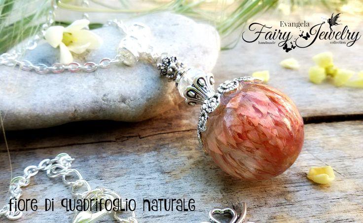 Collana fiore quadrifoglio naturale resina gioielli botanici, by Evangela Fairy Jewelry, 18,00 € su misshobby.com