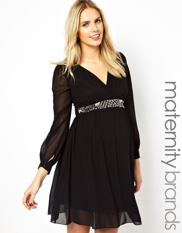 a00839ea93623 Shop for Maternity Long Sleeve Embellished Waist Skater Dress by Little  Mistress at ShopStyle. Now for Sold Out.