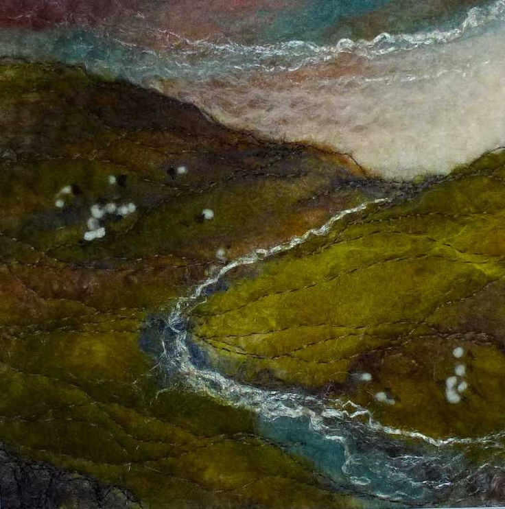 """""""Lakeland Beck"""" SOLD  -  Threlfall's Art Studio   Silk Paintings   Felt Paintings   Acrylics   Caren and Pete   Country, Town and Seascapes   Workshops  """