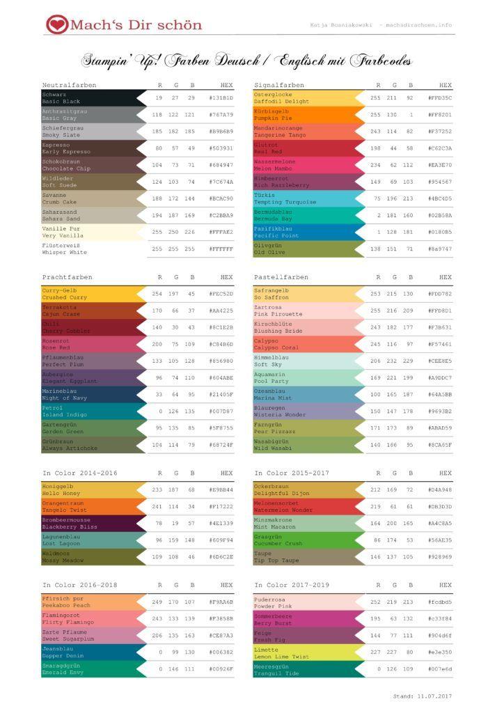 Stampin Up Farbfamilien Mit Rgb Farbcodes Und Neu Mit Hex Als Pdf Download Mach S Dir Schon Farbmischtabelle Farben Lehre Farben
