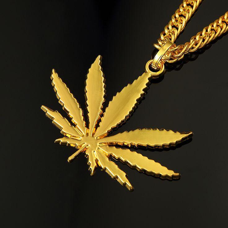 AGOOD 2017 Hiphop fashion Elegant gold statement necklaces & pendants for men hemp fimble leaf channel for unisex  long jewelry