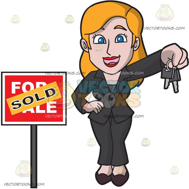 A Female Real Estate Agent Completes A Purchase Of A House:   A woman with orange blonde hair wearing a black pantsuit and heels smiles while holding out several keys in her left hand as she stands beside a red for sale sign that has an orange sold sticker plastered on it