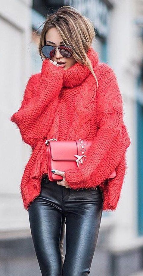 #winter #fashion /  Red Turtleneck + Black Leather Leggings