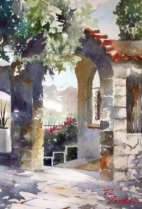 Entry to Ravello - Watercolor of Amalfi, Italy Rita Zaudke