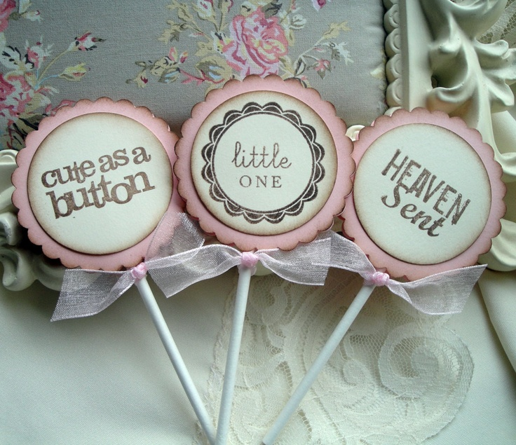 Baby Shower Cupcake Picks Decoration : Baby Shower Cupcake Toppers for Baby Girl - Food Picks ...