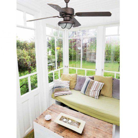Ventilatori da soffitto con lampada HIERRO - MARRONE - 4 PALE: Amazon.it: Casa e cucina