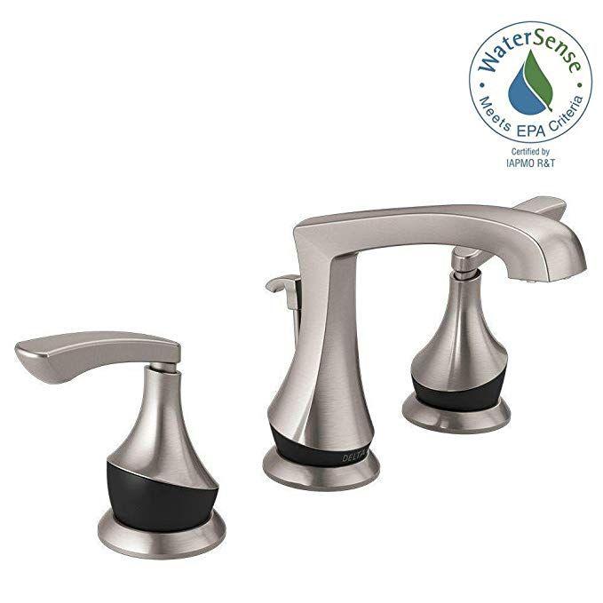 Delta Merge 8 Inch Widespread 2 Handle Bathroom Faucet In