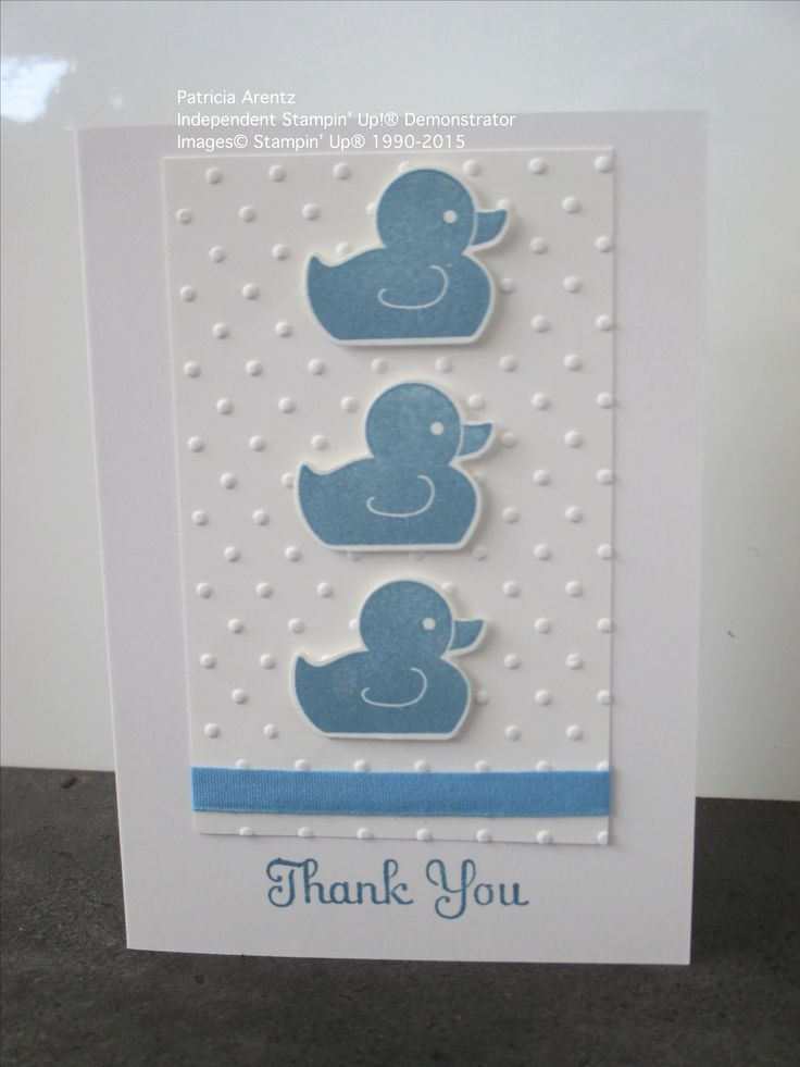 Baby Thank You Card - using Stampin' Up Something for Baby and Best of Greetings stamp sets, Whisper White Notecards, Perfect Polka Dots Embossing Folder.