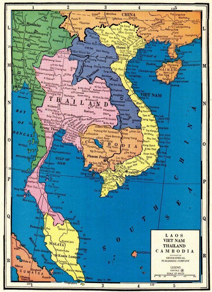 1965 Vintage Map Of Thailand Laos Cambodia Vietnam Map Uncommon Map 7216 Thailand Map Vietnam Map Vintage Map