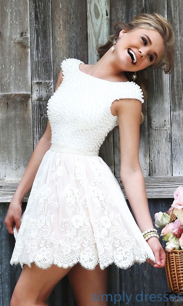 Dress, Short Ivory Dress with Cap Sleeves by Sherri Hill - Simply Dresses