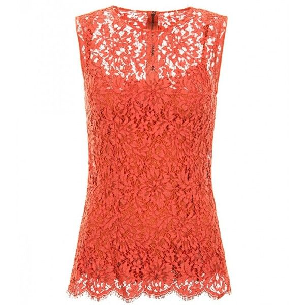 Dolce & Gabbana Orange Cotton Blend Sleeveless Lace Top found on Polyvore