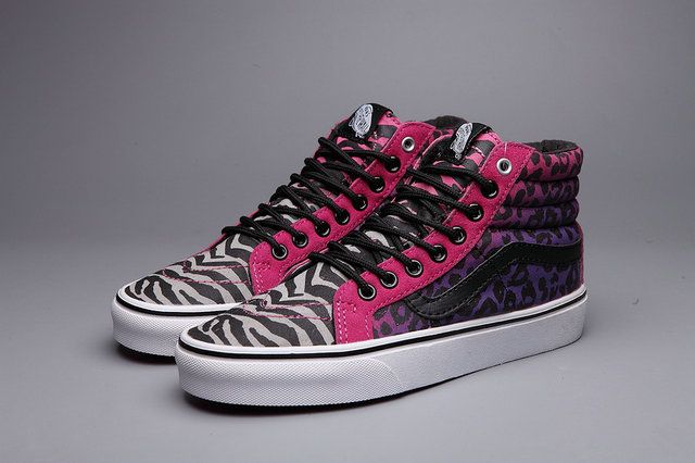 New Vans Leopard and Zebra Prints Splicing Sexy Pink Sk8 High Womens Casual Off the Wall Skateboard Sneakers [S5091304] - $39.99 : Vans Shop, Vans Shop in California