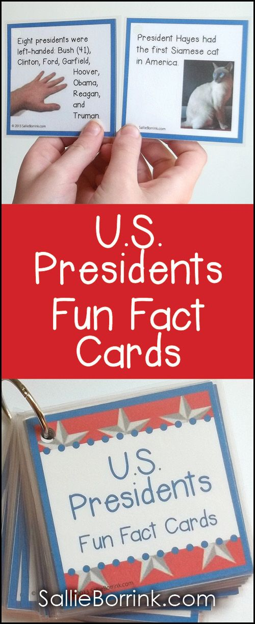 Discover 36 fascinating facts about the U.S. Presidents in these fun to use fact cards. Use them for games, bulletin boards or the fact of the day!