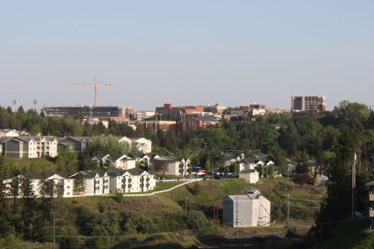 The Washington State University Campus, viewed from the north, in May 2012. Bryan Clock Tower and the Webster Physical Sciences Building can be seen on the ...