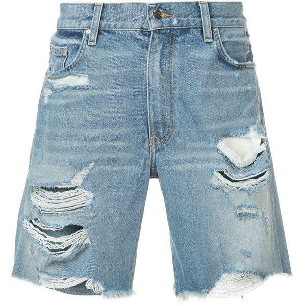 Amiri Thrasher distressed denim shorts ($760) ❤ liked on Polyvore featuring  men's fashion, men's clot… | Blue shorts men, Mens distressed denim shorts, Denim  shorts