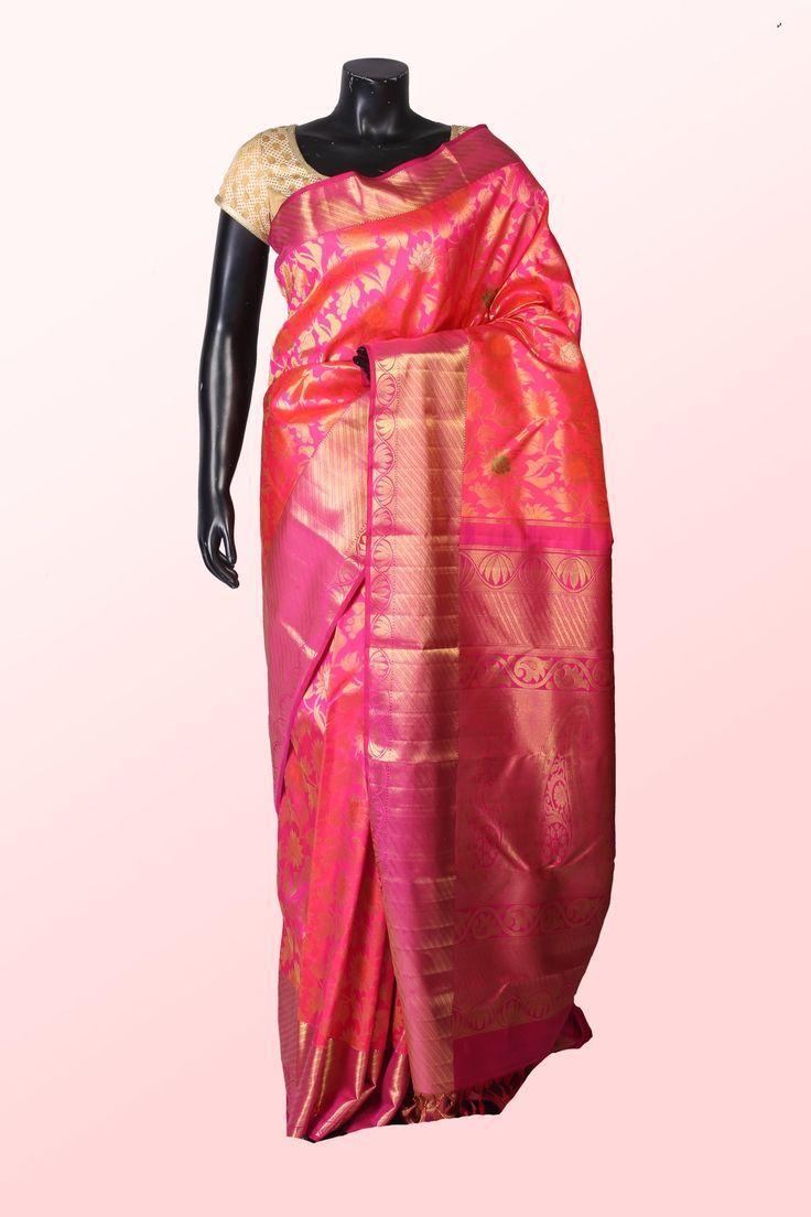 #Pink & #purple pure #kanchipuram #silk astonishing #saree with #purple & #gold #border -SR10731 - Kanchipuram Real #Silver #Zari - Kanchipuram Sarees - #Sarees