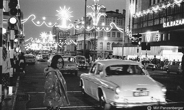 Christmas lights in Adderly Street, Cape Town, 1966
