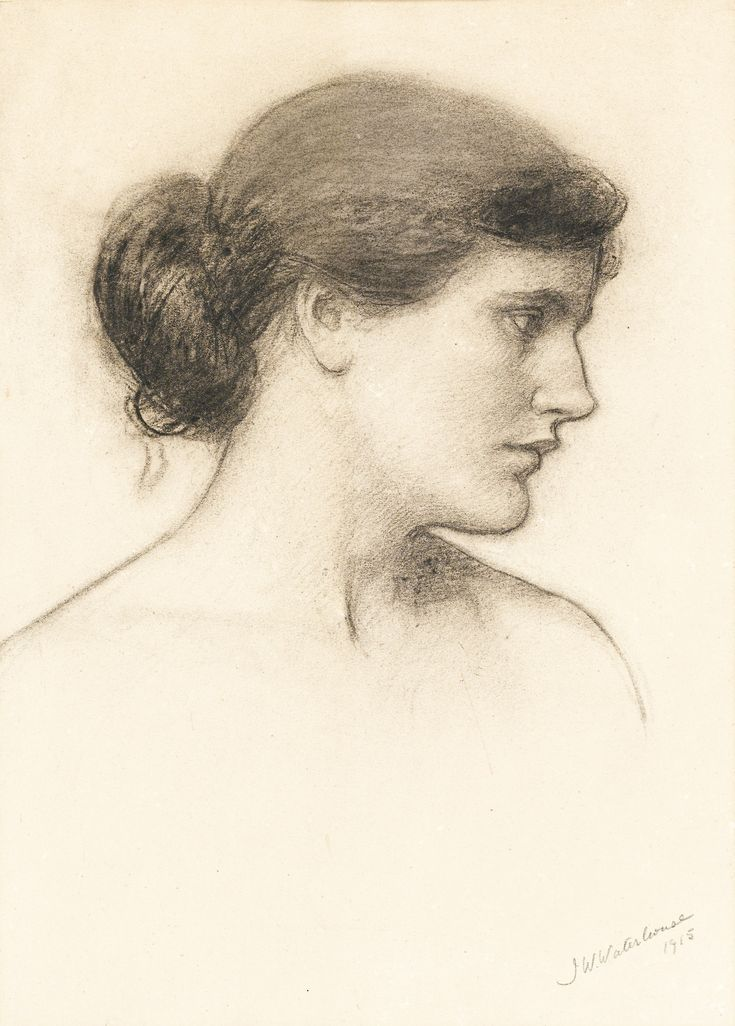 John William Waterhouse ~ Head Study (probably for 'A Tale from the Decameron'), 1915 (charcoal)