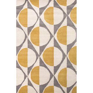 Hand Tufted Geometric Pattern Gold/ Grey Wool Area Rug (5' x 8')