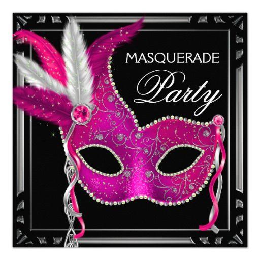 Black Hot Pink Masquerade Party Custom Invites ...