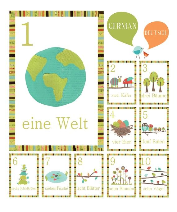 German Number Counting Nature Themed 5x7 by ChildrenInspire, $22.00