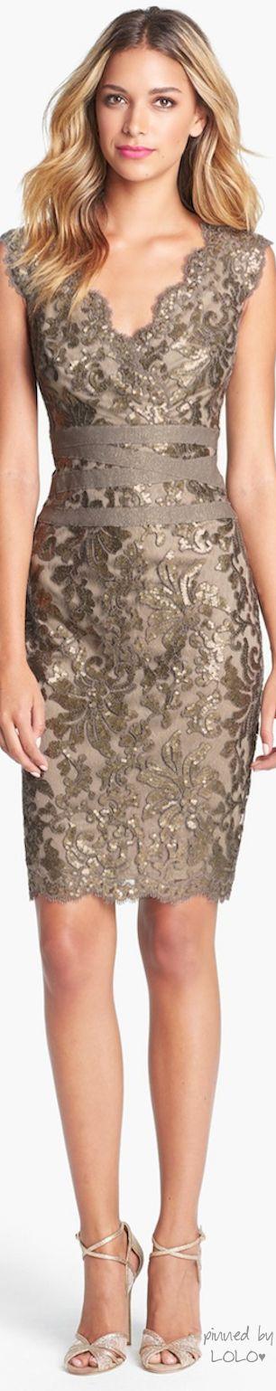 Tadashi Shoji Embellished Metallic Lace Sheath