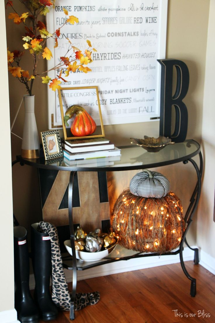 Fall entryway - fall vignette - entryway table styling - fall decor - neutral fall decor - This is our Bliss