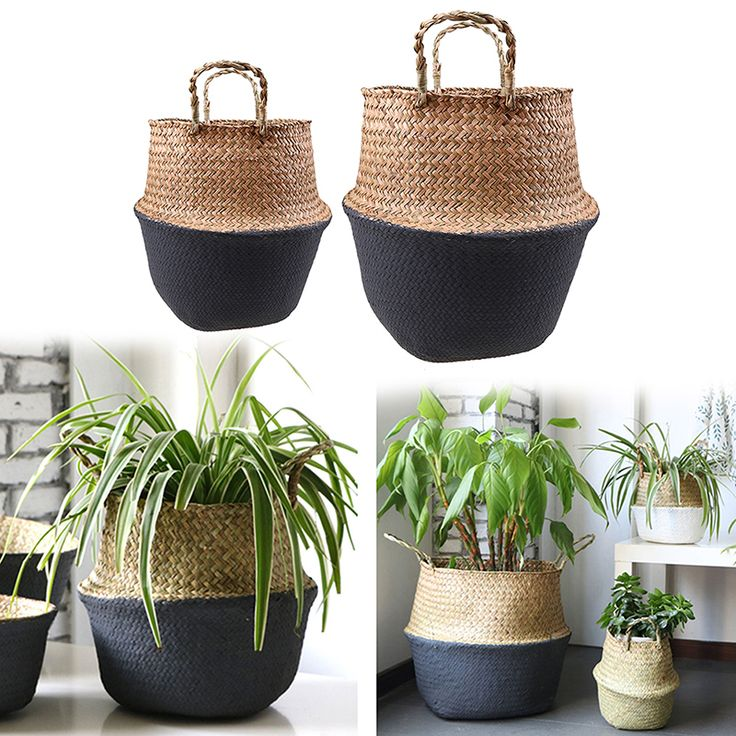 Seagrass Belly Storage Basket Handmade Straw Organizer