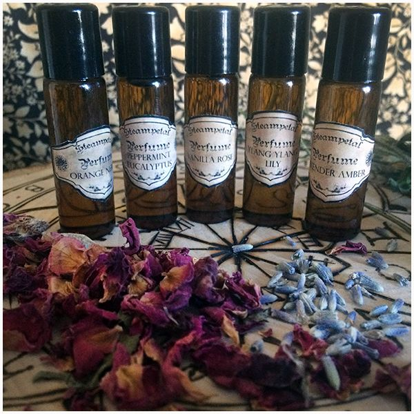 Aromatherapy Perfumes of all my scents are available! Amber bottles with roller ball applicators!
