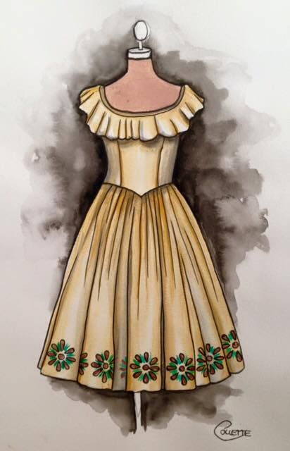 A little bit Mexican inspired this one, with a ruffle trim neckline and painted border around the hem. Buttery yellow 1960s style - watercolour dress by Collette Fergus