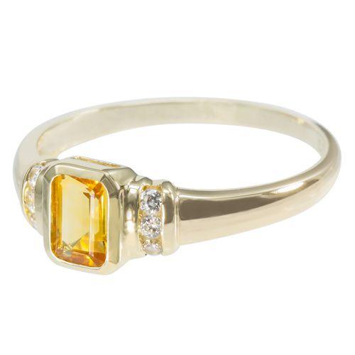 9ct Yellow Gold Emerald Cut Citrine and CZ Ring $126 - purejewels.com.au