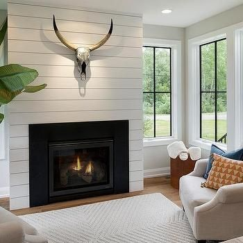 Shiplap Fireplace Wall With Metal Stag Head Farmhouse