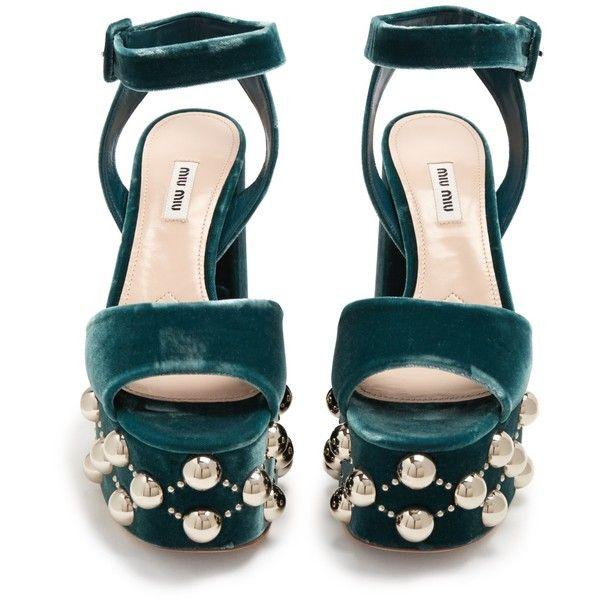 66258f2d810 Miu Miu Stud-embellished velvet platform sandals ( 395) ❤ liked on Polyvore  featuring