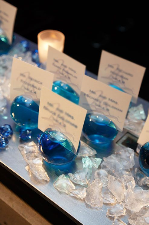 Ideal For A Beach Wedding Escort Cards In Glass Balls Are Surrounded By Natural White Crystals