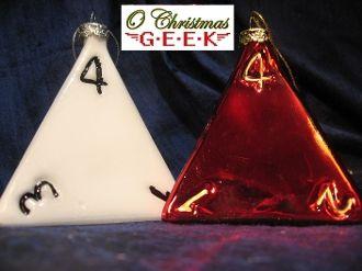 "3"" Handpainted Glass d4 Dice Ornament"