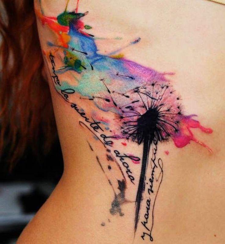 Le tatouage aquarelle pissenlit